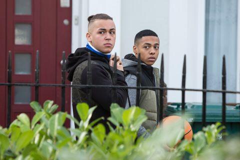 Shakil Kazemi and Keegan Baker see Bex Fowler with Travis in EastEnders