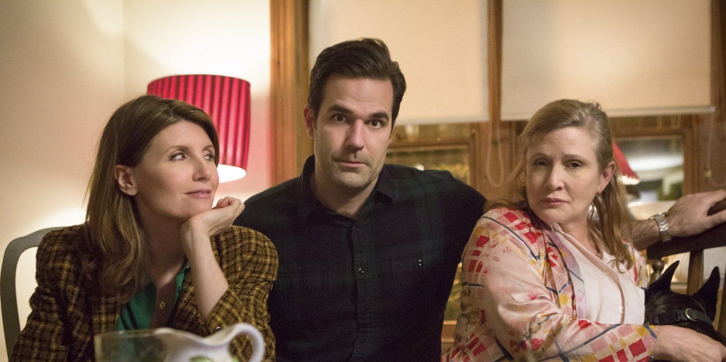 Sharon Horgan, Rob Delaney and Carrie Fisher in 'Catastrophe'