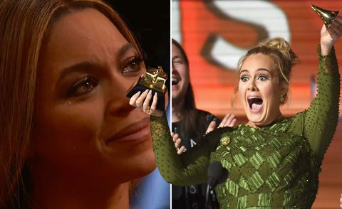 Beyonce cries, Adele breaks Grammy award to share with her