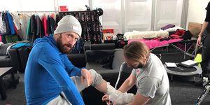 Sir Bradley Wiggins, leg injury on The Jump