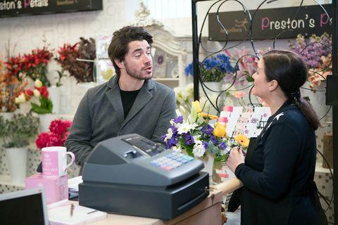 Adam Barlow distracts Mary Taylor in Coronation Street