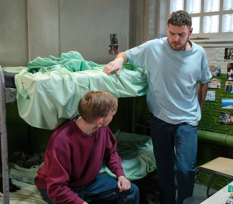 Aaron Dingle with his cellmate Ethan in Emmerdale