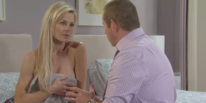 Fake Dee Bliss tries to tempt Toadie Rebecchi wearing just a towel in Neighbours