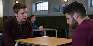 EMBARGO 7/3 Robert pleads with Aaron in prison in Emmerdale