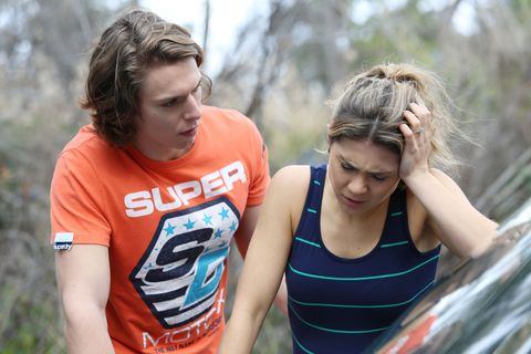 Billie Ashford is with VJ Patterson while she's in labour in Home and Away