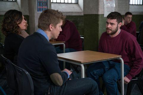 EMBARGO 14/3 Chas and Robert visit Aaron in prison in Emmerdale