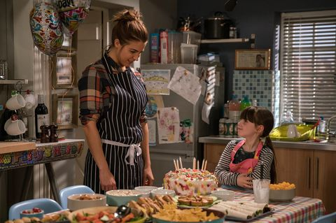 EMBARGO 14/3 Carly panics when April chokes on a sweet in Emmerdale