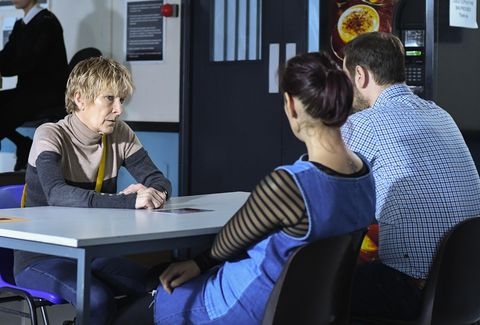 Shirley Carter is visited by Tina and Mick Carter in EastEnders