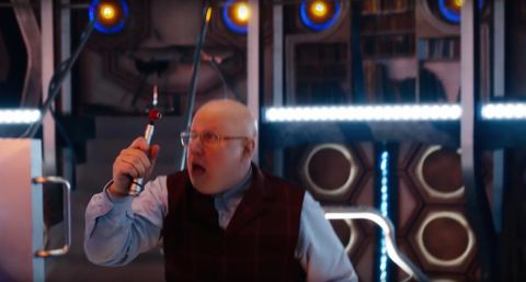 Nardole with the old sonic screwdriver in 'Doctor Who' series 10 trailer