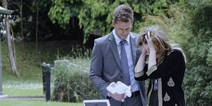 Mark Brennan and Sonya Rebecchi attend Caitlin's memorial in Neighbours