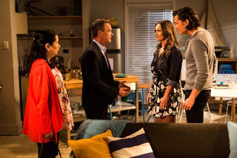 Amy Williams and Leo Tanaka have their holiday interrupted by Paul Robinson and Kim Tanaka in Neighbours