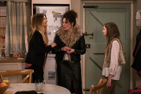 EMBARGO 4/1 Debbie grows jealous of Sarah and Faith's bond in  Emmerdale