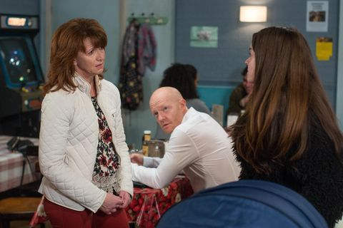Max Branning watches Stacey Fowler rebuff Carmel Kazemi in EastEnders