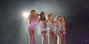 Kimberley Walsh, Nicola Roberts, Nadine Coyle, Cheryl Cole and Sarah Harding of Girls Aloud perform on their 'Ten - The Hits Tour'