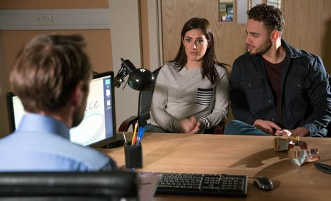 EMBARGO 11/4 Victoria and Adam are given bad news at the clinic in Emmerdale