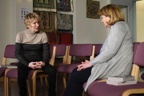 Shirley Carter confides in Reverend Mills in EastEnders