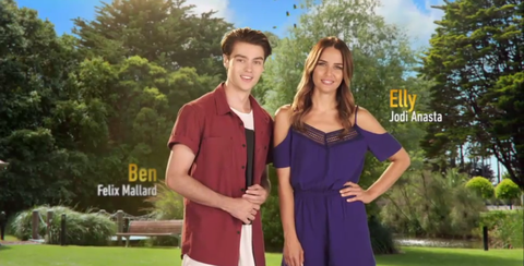 Ben Kirk and Elly Conway in the new Neighbours opening titles