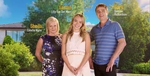 Sheila, Xanthe and Gary Canning in the new Neighbours opening titles