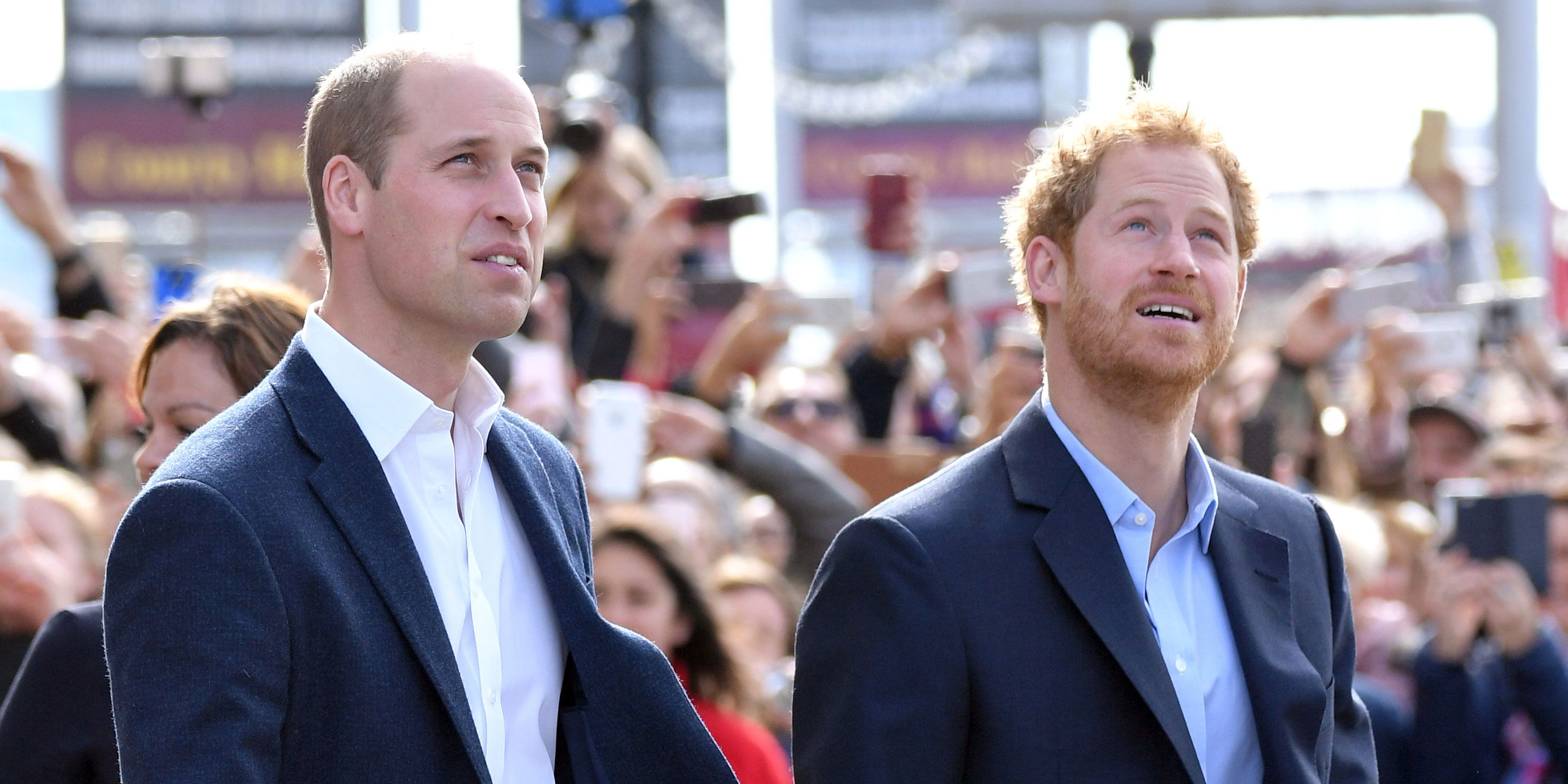 Prince William, Duke of Cambridge and Prince Harry arrive to celebrate World Mental Health Day with Heads Together at the London Eye on October 10, 2016 in London