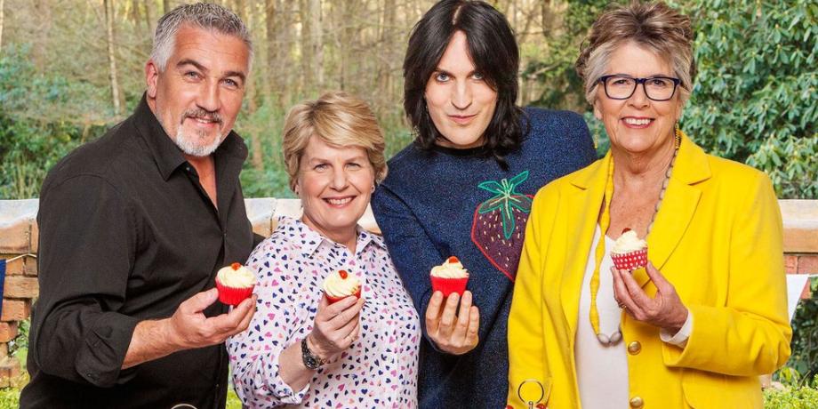 Paul Hollywood, Sandi Toksvig, Noel Fielding and Prue Leith on Great British Bake Off