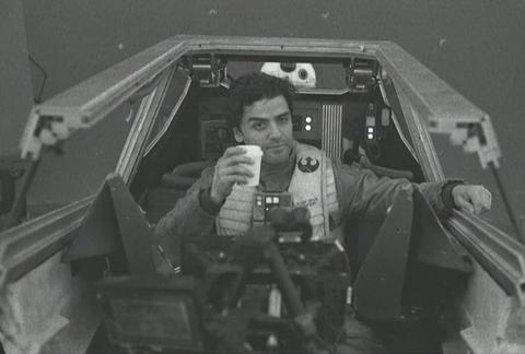 Oscar Isaac on the set of Star Wars: The Last Jedi