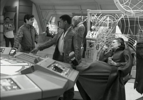 Oscar Isaac, John Boyega and Carrie Fisher on the set of Star Wars: The Last Jedi