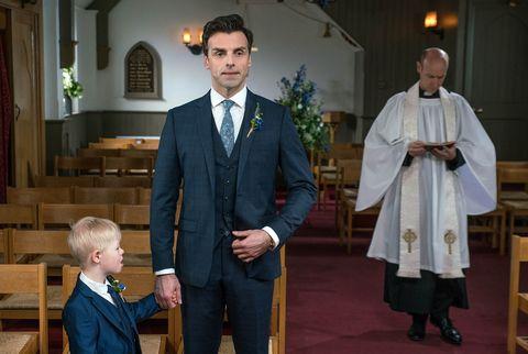 Pierce Harris and Rhona Goskirk's wedding day arrives in Emmerdale