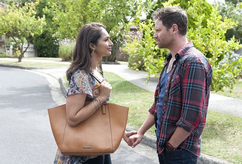 Shane Rebecchi shares big news with his wife Dipi in Neighbours