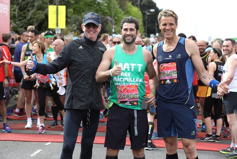 Chris Evans, Matt Johnson and James Cracknell pose for a photo ahead of participating in The Virgin London Marathon 2017