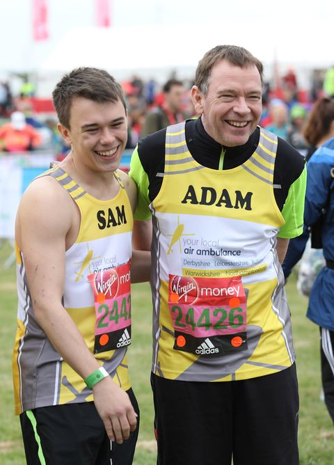 EastEnders star Adam Woodyatt with his son Sam at the London Marathon 2017