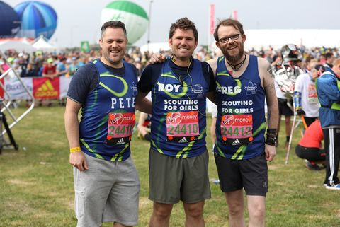 Roy Stride, Peter Ellard and Greg Churchouse of Scouting for Girls pose for a photo ahead of participating in The Virgin London Marathon 2017