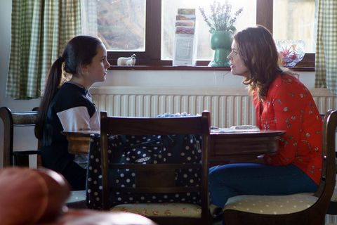 Amy Barlow isn't impressed to be on the run with Tracy in Coronation Street