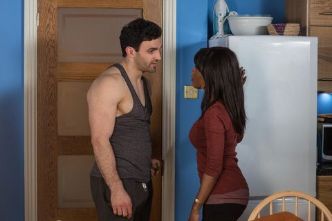 Eastenders: Kush offers to make breakfast but Denise deflects and sends him away, too proud to let on she doesn't have food or money.