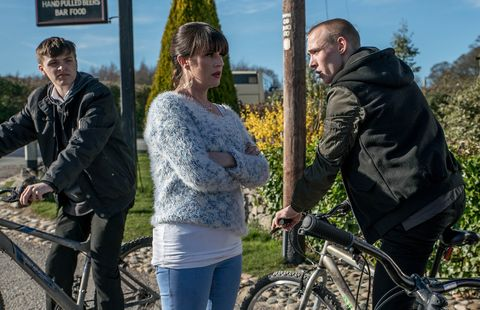 EMBARGO 02/05/2017 Kerry confronts Josh and Jamie  in Emmerdale