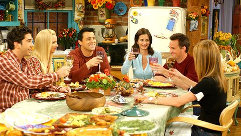 """<p>The pals convince Monica to cook Thanksgiving dinner, then they all show up late and she locks them out. Not the best Thanksgiving episode, but solid all the same.&nbsp;<span class=""""redactor-invisible-space"""" data-verified=""""redactor"""" data-redactor-tag=""""span"""" data-redactor-class=""""redactor-invisible-space""""></span></p>"""