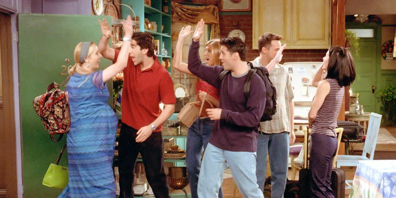 <p>Chandler gets caught kissing Monica, so has to pretend that's just his way of saying goodbye,and kisses Phoebe and Rachel. Rachel gives Monica power over her love life. </p>