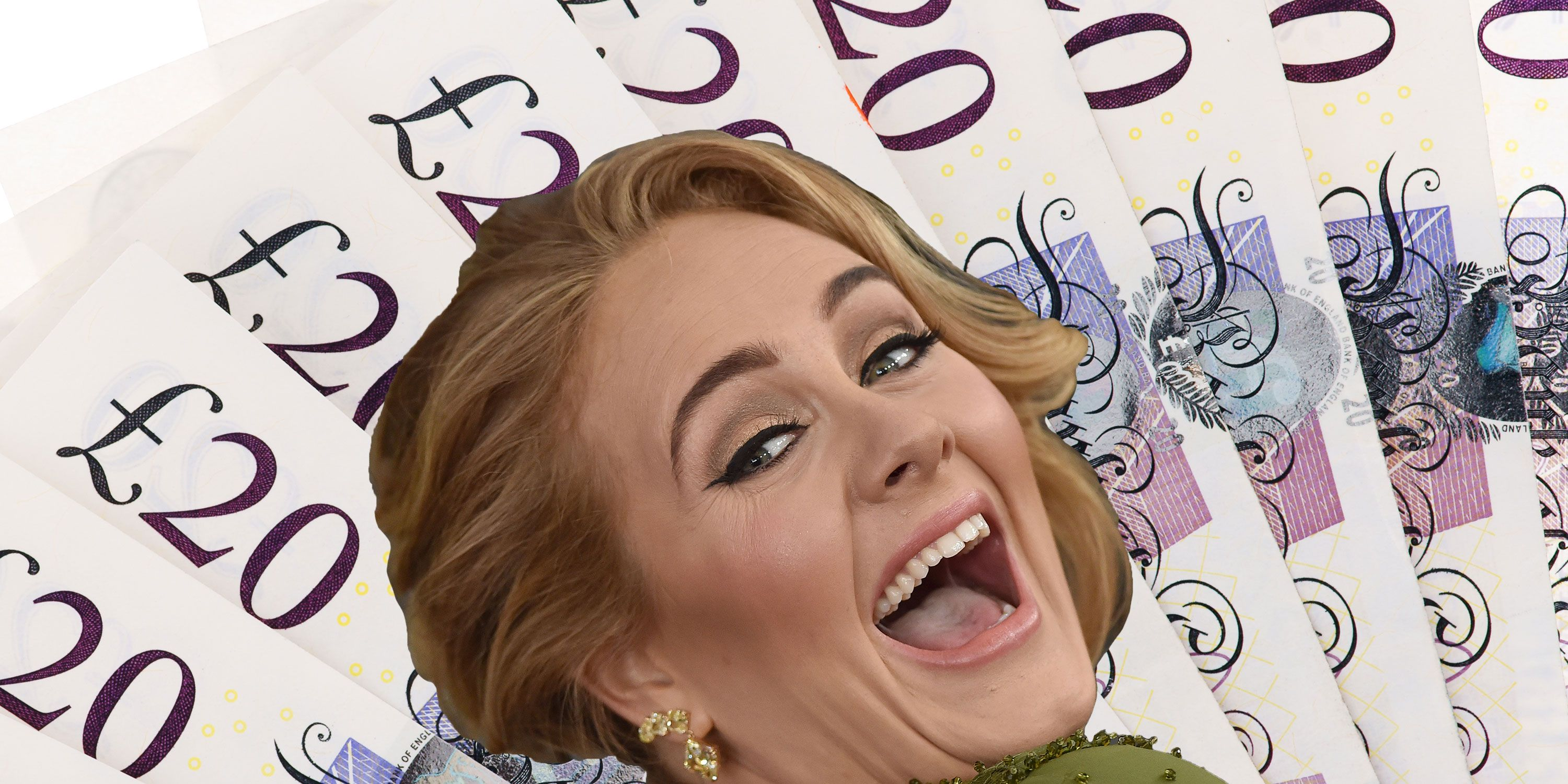 Adele laughing, GBP, cash, money