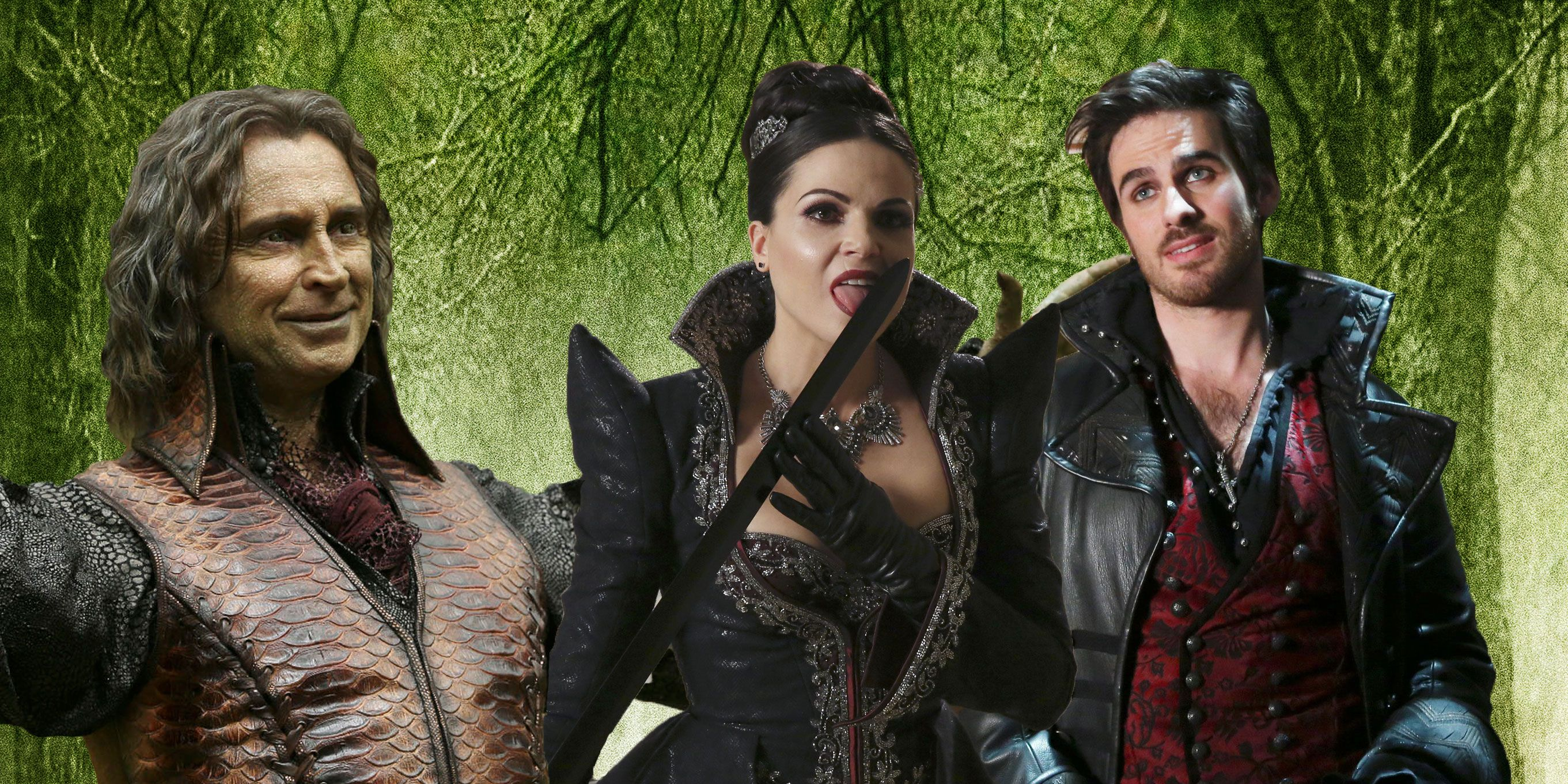 Once Upon a Time: Hook (Colin O'Donoghue), Rumplestiltskin (Robert Carlyle), and Regina (Lana Parrilla)