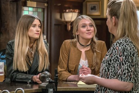 Charity Dingle blackmails Debbie Dingle and Rebecca White in Emmerdale