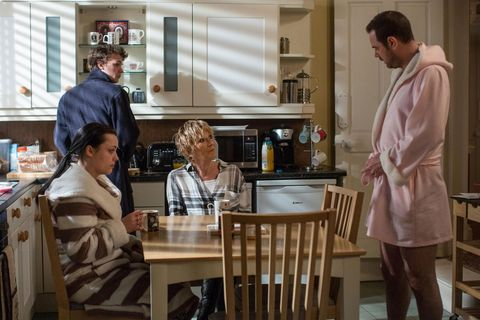 Eastenders: An upbeat Mick greets Shirley, unaware of her anxiety over the pub's freehold.