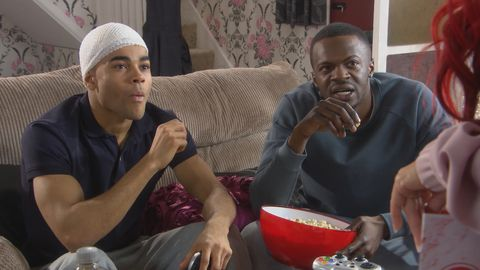 Shane organises a living room gaming day for Prince in Hollyoaks