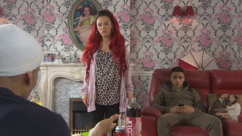 Goldie and Hunter at Shane's living room gaming day for Prince in Hollyoaks