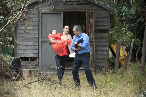 Father Jack Callahan and Karl Kennedy rescue Paige Smith and the baby in Neighbours