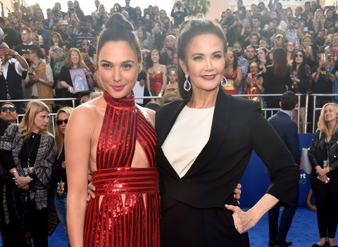 Gal Gadot and Lynda Carter attend the premiere of Wonder Woman