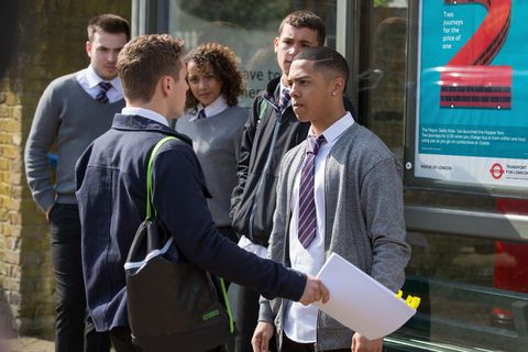 Travis Law-Hughes and Keegan Baker as gossip spreads about Louise in EastEnders