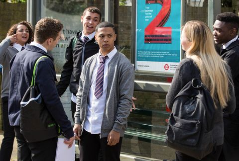Travis Law-Hughes, Keegan Baker and Shakil Kazemi as gossip spreads about Louise in EastEnders