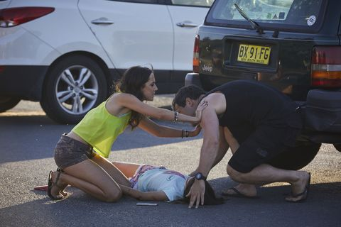 Phoebe pushes Patrick away from Ava in Home and Away