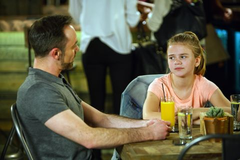 Todd Grimshaw and Billy Mayhew spend time with Summer Spellman in Coronation Street