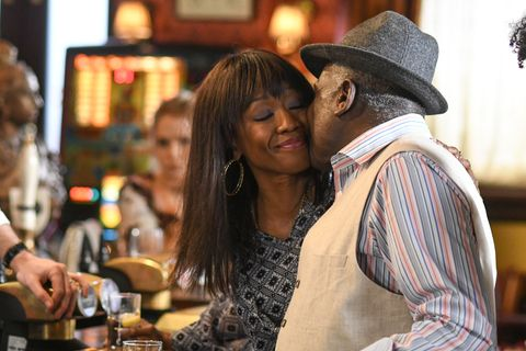Denise Fox shows her appreciation for Patrick Trueman on Father's Day in EastEnders