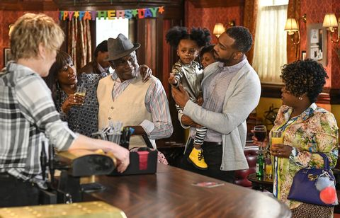 Patrick Trueman enjoys spending Father's Day at The Vic in EastEnders